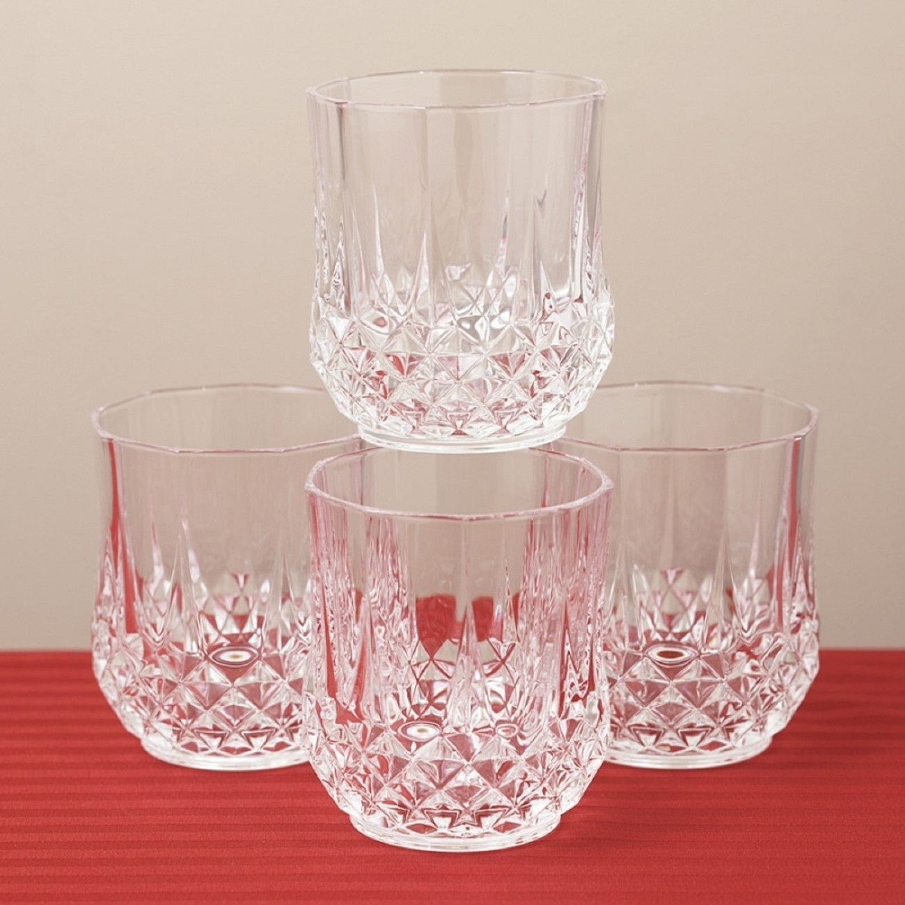 Primary image for LONGCHAMP CRISTAL  D'ARQUE  OLD FASHION WHISKY  WATER JUICE GLASS SET OF 4