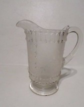 Lovely Small Textured Glass Leaf Pattern Water Juice Pitcher Ewer - $10.89