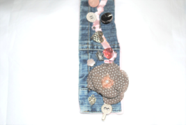 Upcycled Denim Bracelet with taupe and pink accents - $20.00