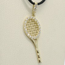 18K YELLOW GOLD TENNIS RACKET ZIRCONIA PENDANT CHARM, 25 mm 1 inches, ITALY MADE image 1