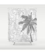 Shower curtains modern art shower curtain Design 67 palm tree gray L.Dumas - $69.99