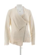 Halston Draped Zip Front Long Slv Linen Blend Blazer Pckts Cream 12 NEW ... - $46.51