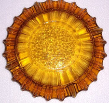 Vintage Blenko Amber Color Extra Large Round Ashtray In A Pressed Glass ... - $32.99