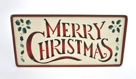 Merry Christmas Rustic Sign 16x8 Plaque Wall Hanging Wreath Decor Door H... - $22.77