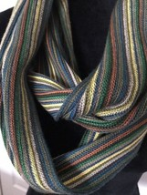 Coldwater Creek Striped Infinity Scarf WINTER NECK COWL Green Rust Yello... - £14.54 GBP