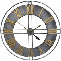 "Nice Wall Clock 30"" Large Metal Roman Numerals Industrial Modern Contemp... - $189.00"