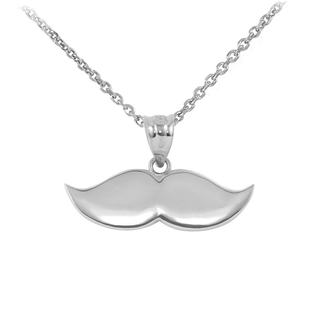 Image of .925 Sterling Silver Fashion Hipster Mustache Stache Pendant Necklace