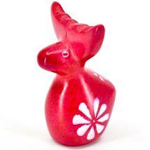 Hand Carved Kisii Soapstone Red Floral Holiday Reindeer Figurine Made in Kenya image 3