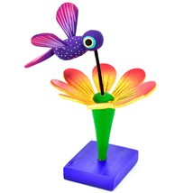 Handmade Carved Painted Alebrijes Oaxacan Wood Hummingbird & Flower Figurine