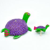 Handmade Alebrijes Oaxacan Wood Carving Folk Art Mom & Baby Sea Turtle Figure image 7