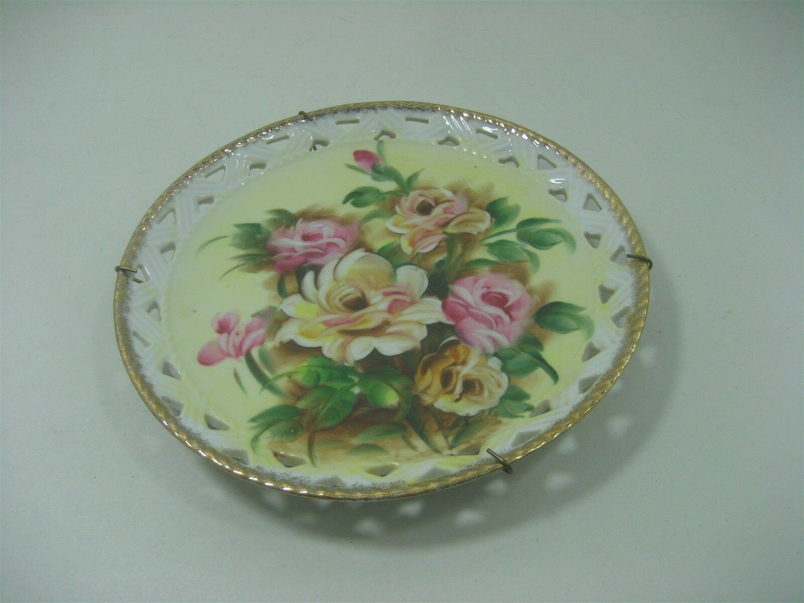 Vintage Ceramic Porcelain Decorative Collector Plate Floral Design Gold Trim