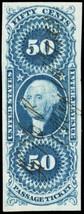 R61a, Superb 50¢ Passage Ticket Revenue Stamp Cat $140.00 - Stuart Katz - $110.00