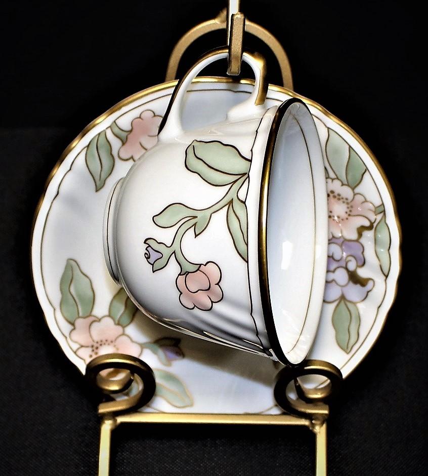 Fitz & Floyd Fleur Fantasia Peach Porcelain Cup & Saucer Set, 194 - $8.00