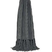 Aran Punto Gris Carbón con flecos MANTA 127cm x 152cm - $81.00