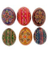 "2.5""Hand Painted Wooden Ukrainian Easter Eggs, Set of 6  - $37.99"