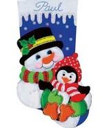 Design Works Snowman & Penguin Friends Christmas Holiday Felt Stocking K... - $29.95