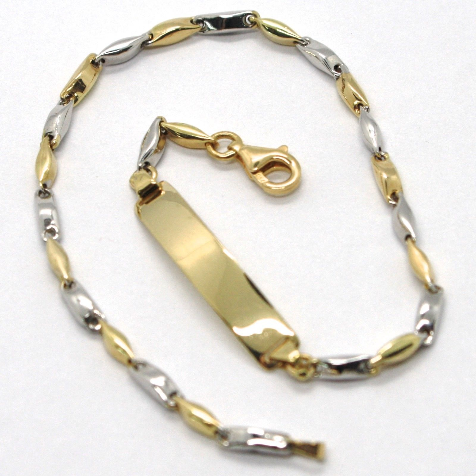 18K WHITE YELLOW GOLD BRACELET ENGRAVED PLATE ALTERNATE TUBE ONDULATE LINK