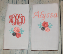 Personalized Baby Girl Rose Burp Cloths with Monogram and First Name set of 2 - $18.00