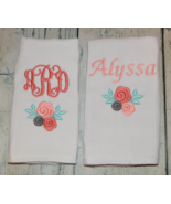 Personalized Baby Girl Rose Burp Cloths with Monogram and First Name set... - $18.00