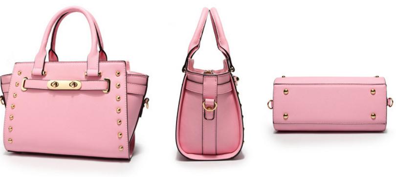 Rivets Women Leather Handbags Fashion Medium Shoulder Bags V414-2