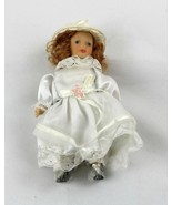 """Miniature 5"""" Porcelain Doll white dress hat collectible toy - $20.00"""