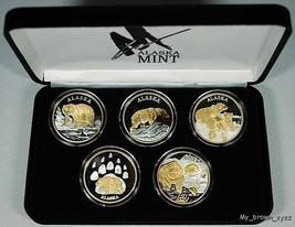 Alaska Mint 5 - BEAR SET Gold & Silver Medallion Proof - $593.99