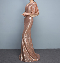 Rose Gold Sleeves Sequin Dress Gold Maxi Long Plus Size Mermaid Sequin Dress NWT image 3