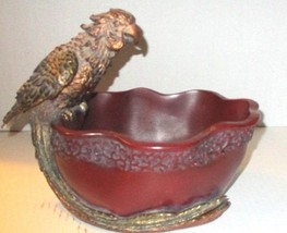 RED DETAIL BOWL WITH DETAIL PORROT PERCHED ON RIM - $185.00