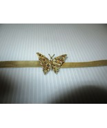 Vintage Gold Tone Mesh Choker-Butterfly-With Amber Colored Rhinestones - $19.95