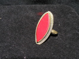 Vintage Rustic Long Red Glass Marquise with Silver Colored Metal Tiny Sw... - $8.59