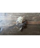 """Vintage Trifari Crown Faux Pearl Flower Brooch 1.75"""" - $59.39"""