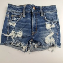 American Eagle Womens Jean Shorts Sz 0 Hi Rise Shortie Booty Distressed ... - $25.40