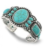 Jianxi Women's Antique Rgentium Plated Base Heart Compressed Turquoise ... - $32.43