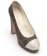 CHANEL Platform Pump Straw Patent Leather Tweed Cap Toe Brown Gold CC Lo... - $375.25