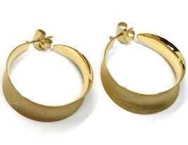 925 STERLING SILVER CIRCLE HOOPS BIG EARRINGS 4cm x 1.2cm YELLOW SATIN CURVED image 2
