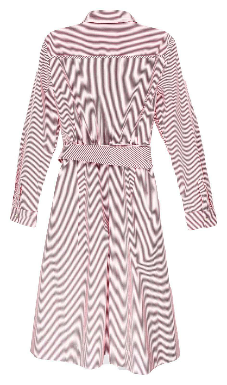 JCrew Womens Tie Waist Shirt Dress Red White Stripes Button Front Dress 14 H7791 image 4