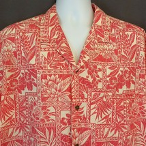 Royal Creations Hawaiian Shirt Pink Light Red Tapa Print Floral Palms 2X... - $32.82