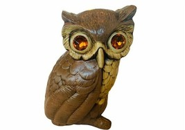 Owl Figurine Rhinestone eyes gem Great Horned Bird ceramic Sculpture sta... - $49.45