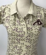 Brooklyn Girl Beige Polo Type Shirt Back Cut Out Embroidered Gray Purple... - $14.84
