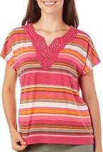 Alfred Dunner Women's Beaded Crochet Striped Hi-Lo Top Multi 4184-3 - $21.29