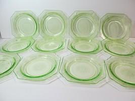 """Set of 12 Anchor Hocking """"Princess"""" Green Saucers Depression Glass vaseline - $98.01"""