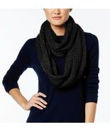 New BCBGeneration Soft Cozy Lurex Knit Women's Infinity Scarf Black Silv... - $10.38