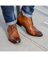 Handmade Men brown ankle boot, Men brown lace up ankle boot, Men's leath... - $159.99+
