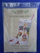 Mr. & Mrs. Snowman Stocking Cross Stitch Kit 50214 Something Special Vintage - $19.99