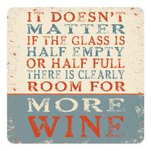 Cristal Es Half Empty o Medio Completo, Room para Wine Melamina Mesa Bebidas - $4.08