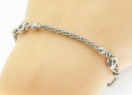 925 Sterling Silver - Vintage Petite Love Heart Link Chain Bracelet - B5775 - $34.68