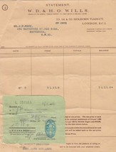 W.D. & H.O. Wills 1954 Branch of Imperial Tobacco Co. Stamp Receipt Ref ... - $7.59