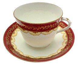 Staffordshire Maroon and Gilt 8001 1008 Cup and Saucer - $22.93