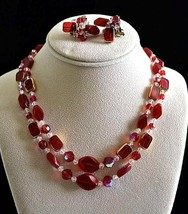 Vintage Ruby Colored Cut Crystal Strand Necklace & Earring Set - $27.55