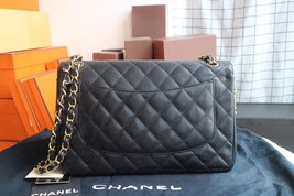 AUTHENTIC CHANEL BLACK QUILTED CAVIAR JUMBO CLASSIC DOUBLE FLAP BAG GHW image 3